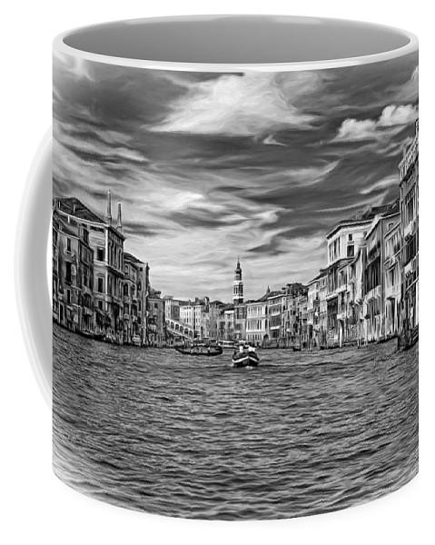 Venice Coffee Mug featuring the photograph The Grand Canal - Paint Bw by Steve Harrington