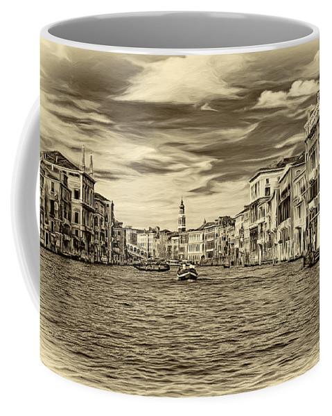 Venice Coffee Mug featuring the photograph The Grand Canal - Paint Sepia by Steve Harrington