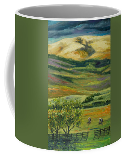 California Hills Coffee Mug featuring the painting The Grapevine by Rick Nederlof