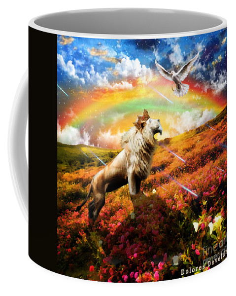 Holy Spirit Out Pour Coffee Mug featuring the digital art The Great Out Pouring by Dolores Develde