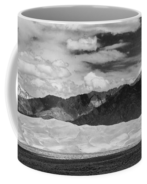 The Great Colorado Sand Dunes; Great Sand Dunes National Park And Preserve; Black And White Sand Dunes Panorama Prints; Black And White Sand Dunes Panorama Coffee Mug featuring the photograph The Great Sand Dunes Panorama 2 by James BO Insogna
