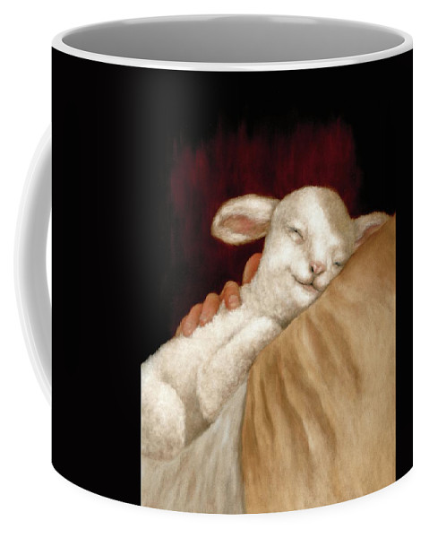 Lamb Coffee Mug featuring the pastel The Great Shepherd's Love by Gale Smith