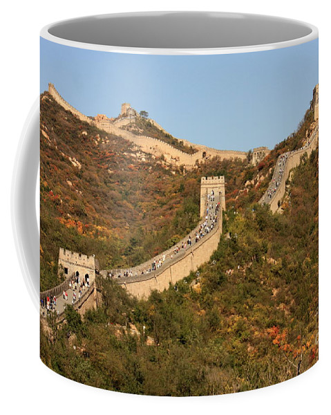 The Great Wall Of China Coffee Mug featuring the photograph The Great Wall On Beautiful Autumn Day by Carol Groenen