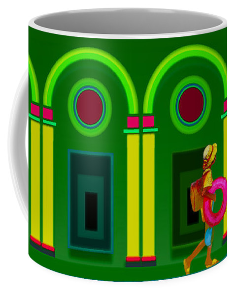 Classical Coffee Mug featuring the digital art The Green Door by Charles Stuart