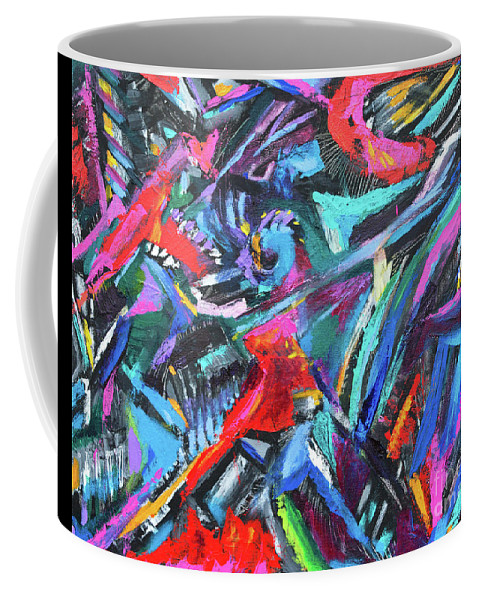 Bold Strokes And Intense Texture.vibrant Colors And Black Accents .contemporary Modern Abstract Expressionist Painting  Coffee Mug featuring the painting The green dragons Tail by Priscilla Batzell Expressionist Art Studio Gallery