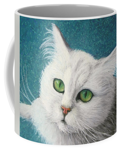 Angora Cat Coffee Mug featuring the painting The Green Eyed Vamp by Minaz Jantz
