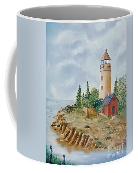 Lighthouse Coffee Mug featuring the painting The Guiding Light by Duane West