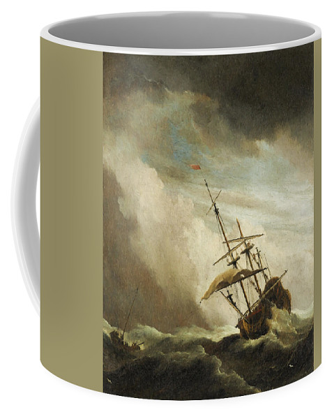 Old Masters Coffee Mug featuring the painting The Gust 3 by Willem van de Velde