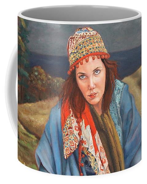 Figurative Art Coffee Mug featuring the painting The Gypsy Fortune Teller by Portraits By NC