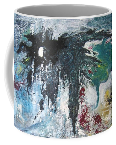 Abstract Paintings Coffee Mug featuring the painting The Half Moon by Seon-Jeong Kim