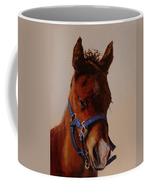 Judy Bradley Coffee Mug featuring the painting The Halter by Judy Bradley