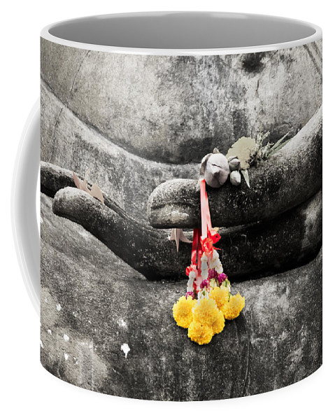 Buddha Coffee Mug featuring the photograph The Hand Of Buddha by Adrian Evans