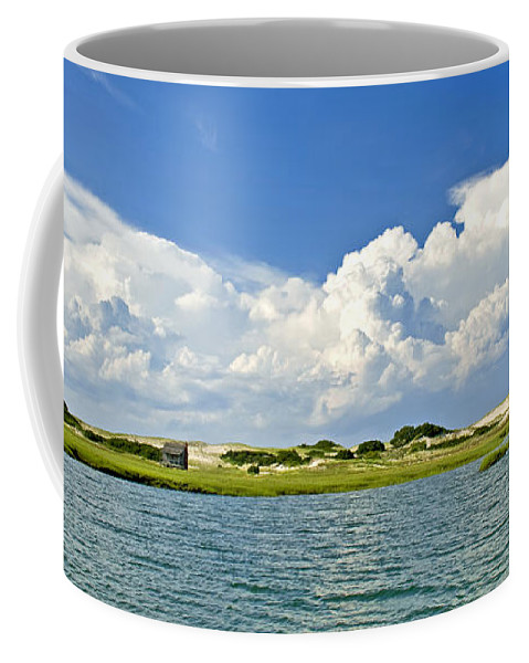 Sandy Neck Coffee Mug featuring the photograph The Handys Camp On Sandy Neck by Charles Harden