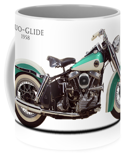 Harley Davidson Coffee Mug featuring the photograph The Harley Duo-glide 1958 by Mark Rogan