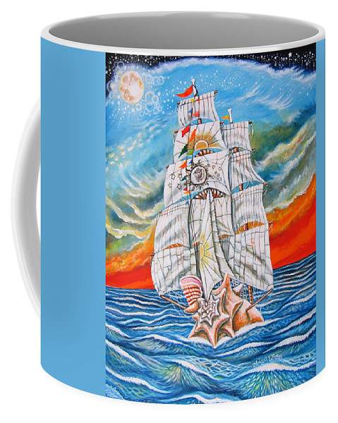 Sailboat Coffee Mug featuring the painting The Harvest Conchquest by Abigail White