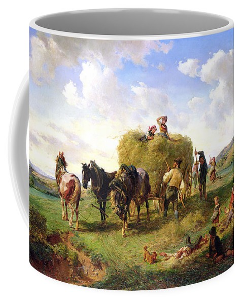 The Coffee Mug featuring the painting The Hay Harvest by Hermann Kauffmann