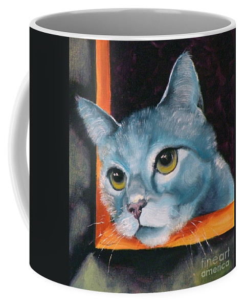 Cat Coffee Mug featuring the painting The Heart Is A Lonely Hunter by Susan A Becker