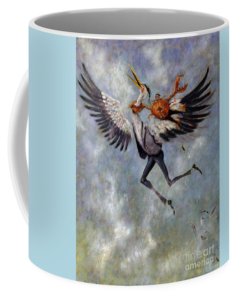 Heron Coffee Mug featuring the painting The Heron And The Crab by Janneke Knispel