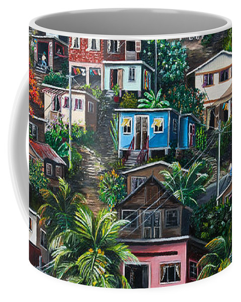 Landscape Painting Cityscape Painting Houses Painting Hill Painting Lavantille Port Of Spain Painting Trinidad And Tobago Painting Caribbean Painting Tropical Painting Caribbean Painting Original Painting Greeting Card Painting Coffee Mug featuring the painting THE HILL   Trinidad by Karin Dawn Kelshall- Best