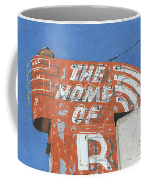 Neon Sign Coffee Mug featuring the drawing The Home Of R by Rob De Vries