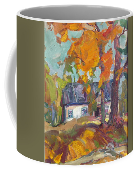 Oil Coffee Mug featuring the painting The House In Chervonka Village by Sergey Ignatenko