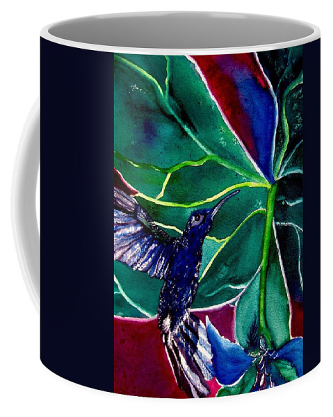 Hummingbird Coffee Mug featuring the painting The Hummingbird And The Trillium by Lil Taylor