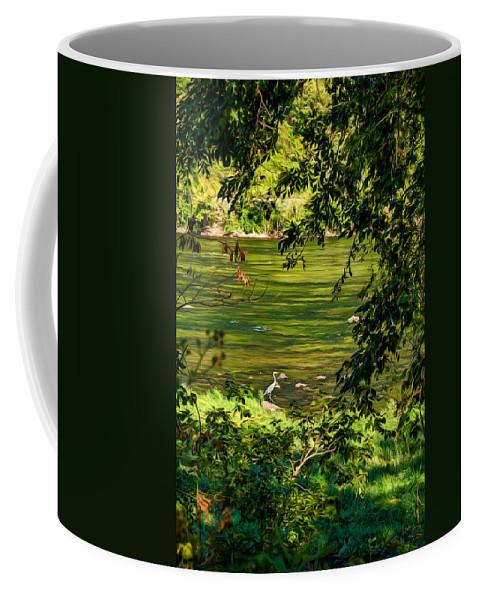 Heron Coffee Mug featuring the photograph The Hunter - Paint by Steve Harrington
