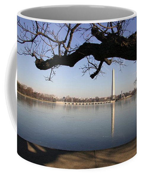Tidal Basin Coffee Mug featuring the photograph The Iced-over Tidal Basin In Mid-winter by Stephen St. John