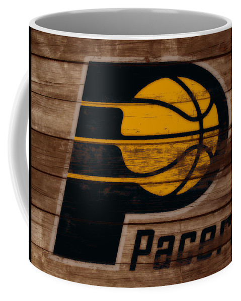 The Indiana Pacers Coffee Mug featuring the mixed media The Indiana Pacers 3b by Brian Reaves