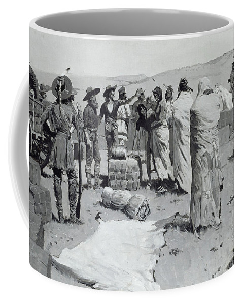 Remington Coffee Mug featuring the painting The Interpreter Waved At The Youth by Frederic Remington