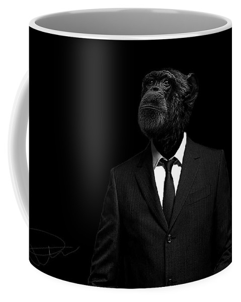 Chimpanzee Coffee Mug featuring the photograph The interview by Paul Neville