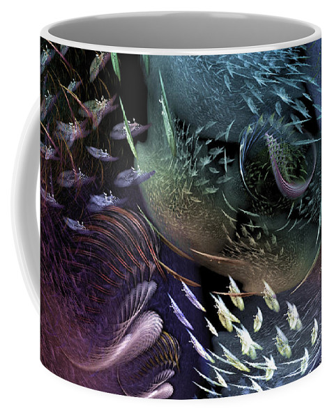 Abstract Coffee Mug featuring the digital art The Intricacy Of Existence by Casey Kotas