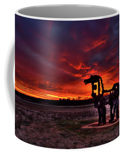Reid Callaway The Iron Horse Red Sky Sunset Coffee Mug featuring the photograph The Iron Horse Red Sky Sunset by Reid Callaway