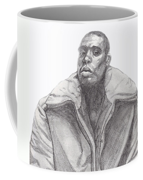 Jacket Coffee Mug featuring the drawing The Jacket by Jean Haynes