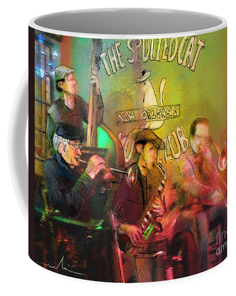 Jazz Coffee Mug featuring the painting The Jazz Vipers In New Orleans 02 by Miki De Goodaboom