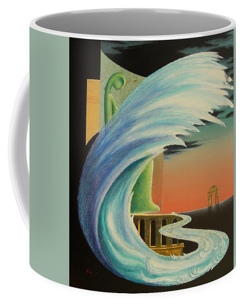 Romantic Coffee Mug featuring the painting The Journy-17 by Raju Bose