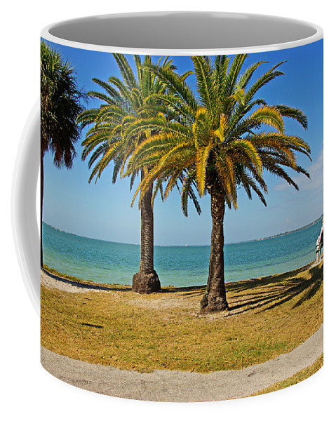 Sea Coffee Mug featuring the photograph The Joy Of Sea And Palms by Zalman Latzkovich