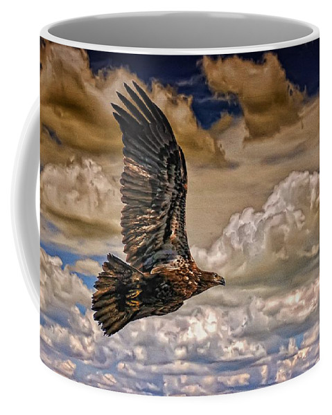 Eagle Coffee Mug featuring the photograph The Juvenile by Lois Bryan