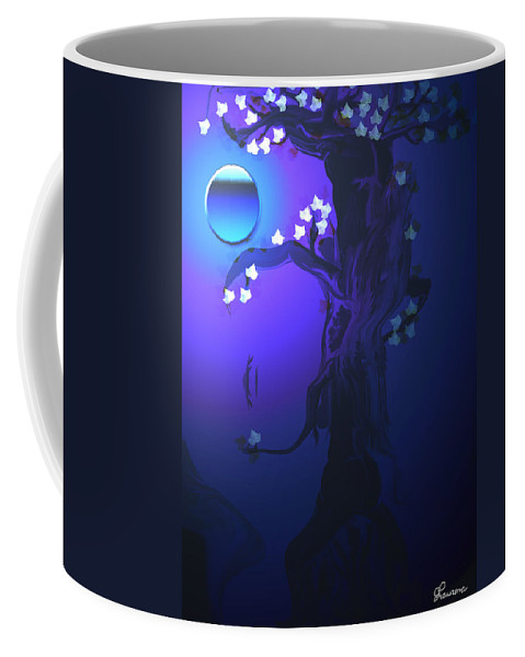 Tree Moon Spider Leaves Blue Feelings Lonely Drawing Dark Coffee Mug featuring the digital art The Keeper by Andrea Lawrence