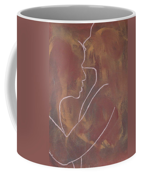 Kiss Kisses Love Passion Lust Sweet Emotion Heart Sex Nude Figures People Hues Browns Yellows Mixed Shade Coffee Mug featuring the painting The Kiss by JJ Burner