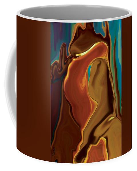 Abstract Art Blue Brown Digital Embrace Figurative Girl Green Kiss Love Man Night Passion Rabi_khan Coffee Mug featuring the digital art The Kiss by Rabi Khan