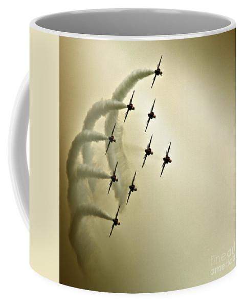 Red Arrows Coffee Mug featuring the photograph The Kite Roll by Angel Ciesniarska