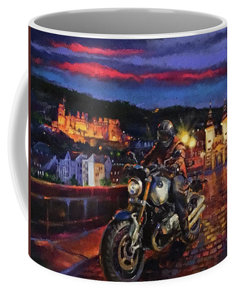 Bmw Motorcycle Coffee Mug featuring the painting The Knight of Heidelberg by BJ Lane