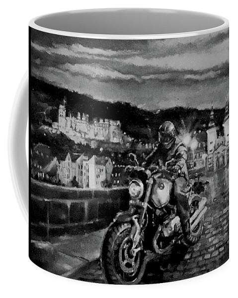 Black And White Coffee Mug featuring the painting The Knight of Heidelberg-Black and White Version by BJ Lane