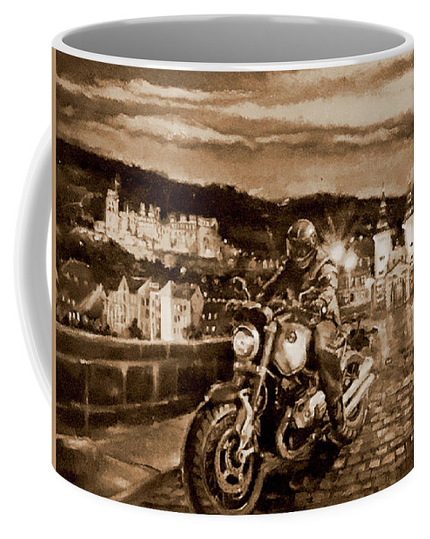 Sepia Painting Coffee Mug featuring the painting The Knight of Heidelberg-Sepia by BJ Lane