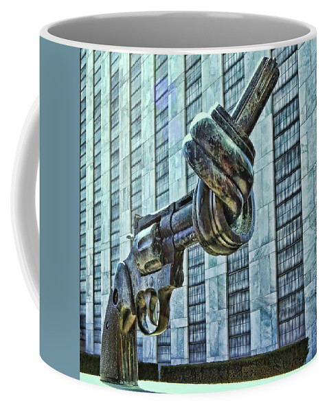 Non-violence Sculpture Coffee Mug featuring the photograph The Knotted Gun by Allen Beatty