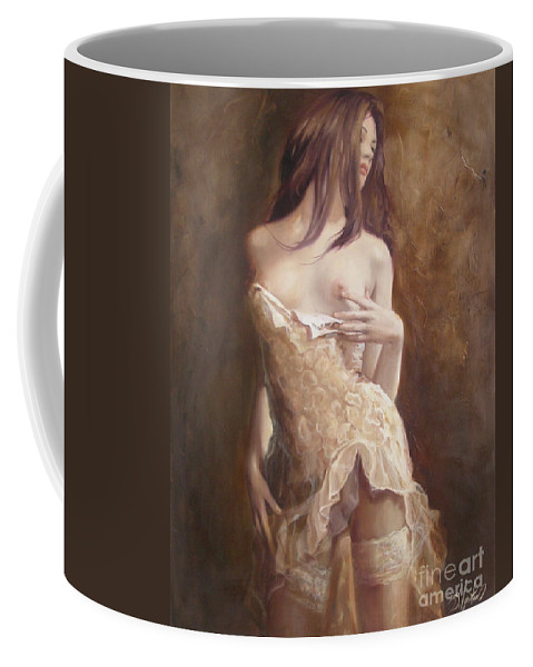 Art Coffee Mug featuring the painting The Laces by Sergey Ignatenko