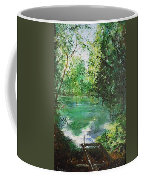 Lake Coffee Mug featuring the painting The Lake At Stansted Unfinished by Lizzy Forrester