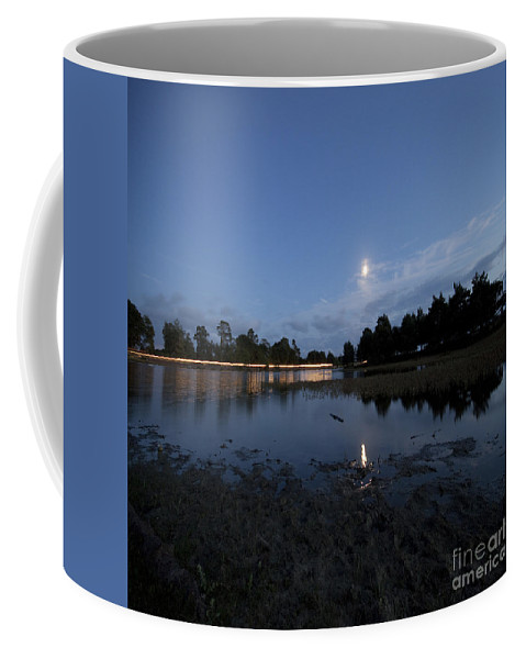 Moonlight Coffee Mug featuring the photograph The Lake In The Moonlight by Angel Ciesniarska