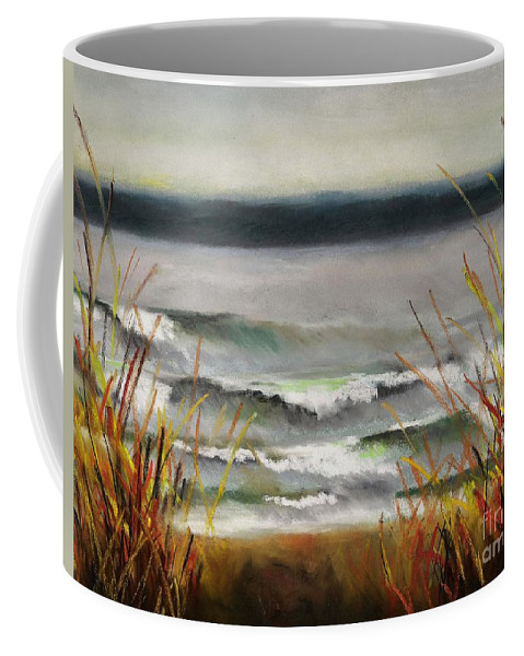 Lakes Coffee Mug featuring the painting The Lake Shore by Frances Marino